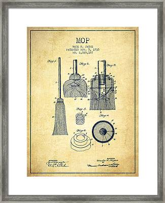 Mop Patent From 1935 - Vintage Framed Print