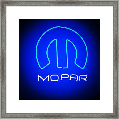 Mopar Neon Sign Framed Print by Jill Reger