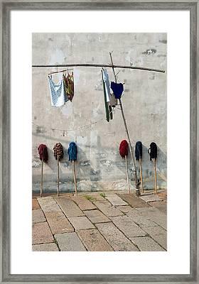 Mops And Laundry 1  Wuzhen China Framed Print