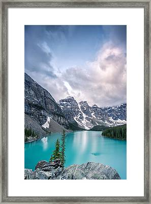 Moraine Cloud Burst Framed Print by Jon Glaser