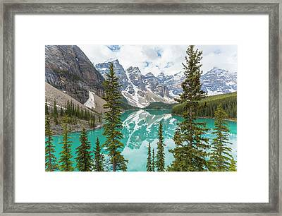 Moraine Lake And The Valley Of The Ten Framed Print by Peter Adams
