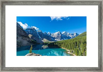 Moraine Lake At Banff National Park Framed Print