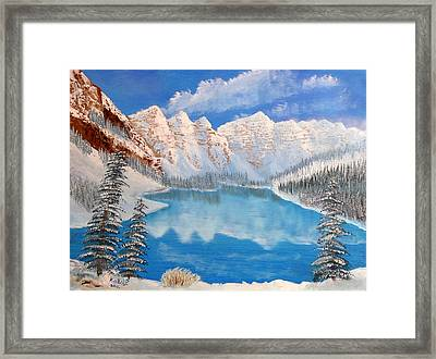 Moraine Lake By Winter Time  Framed Print by Peter Kallai