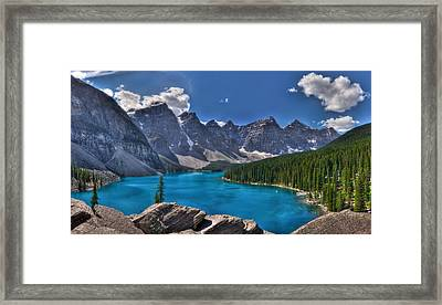 Moraine Lake Hdr Panorama Framed Print