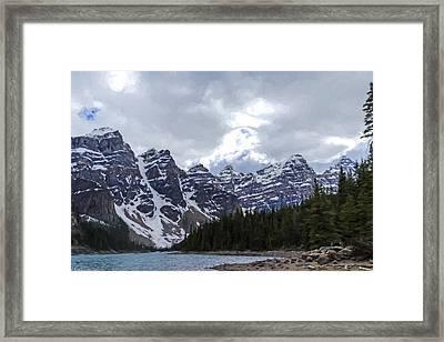 Moraine Lake Nestled In The Valley Of The Ten Peaks - Banff National Park Framed Print by Jordan Blackstone