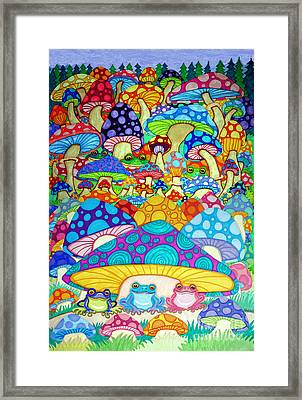 More Frogs Toads And Magic Mushrooms Framed Print