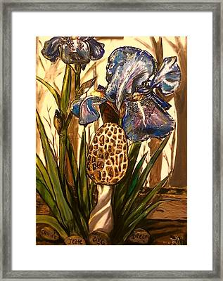 Morel In The Iris Bed Framed Print by Alexandria Weaselwise Busen