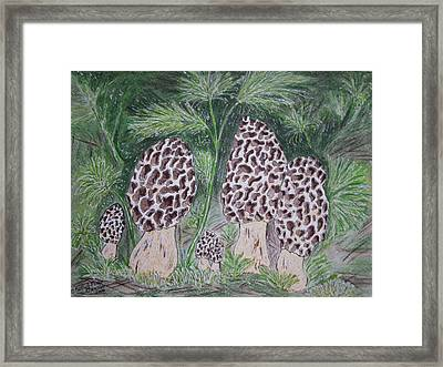 Framed Print featuring the painting Morel Mushrooms by Kathy Marrs Chandler