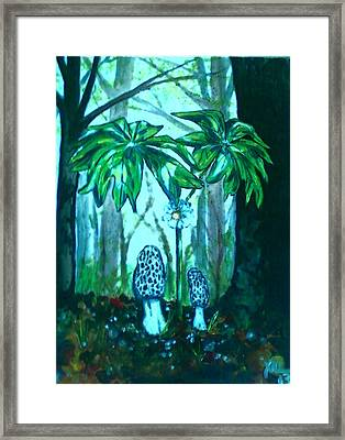 Morels Among Mayapples Framed Print
