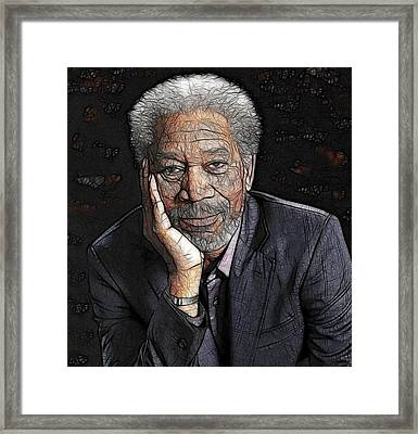 Framed Print featuring the painting Morgan Freeman  by Georgeta Blanaru