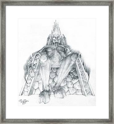 Framed Print featuring the drawing Morgoth Bauglir by Curtiss Shaffer