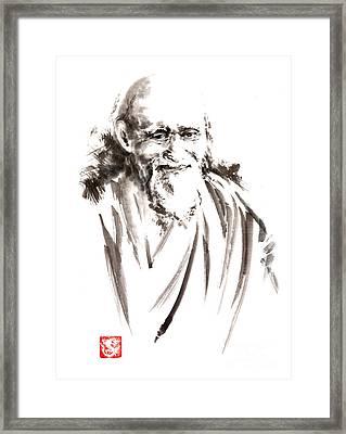 Morihei Ueshiba Sensei Aikido Martial Arts Japan Japanese Master Sum-e Portrait Founder Framed Print by Mariusz Szmerdt