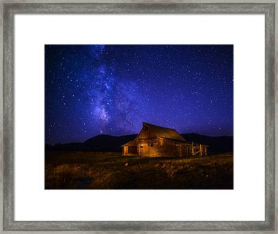 Mormon Barn And Milky Way Framed Print by Vishwanath Bhat
