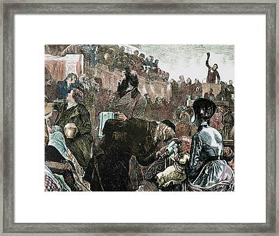 Mormon Church Service In The Tabernacle Framed Print