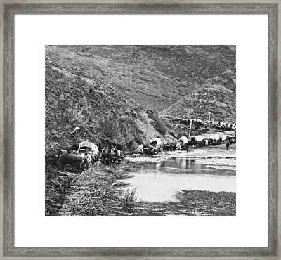 Mormon Emigrant Conestoga Caravan 1879 - To Utah Framed Print by Daniel Hagerman