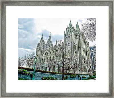 Mormon Temple In Early Spring Framed Print