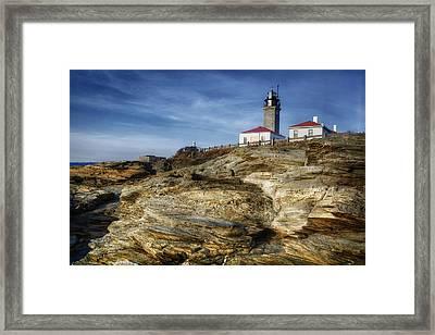 Morning At Beavertail Lighthouse Framed Print by Joan Carroll