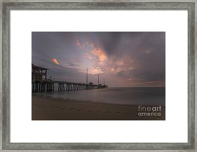 Framed Print featuring the photograph Morning At Jennette Pier by Dan Friend