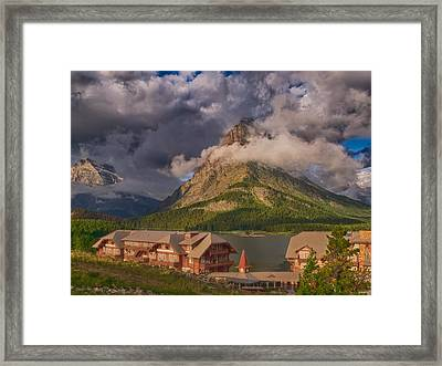 Morning At Many Glacier Hotel Framed Print
