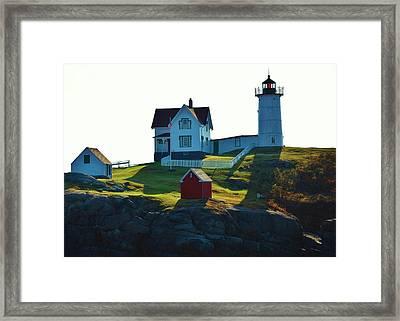 Morning At Nubble Lighthouse Framed Print by Joy Bradley