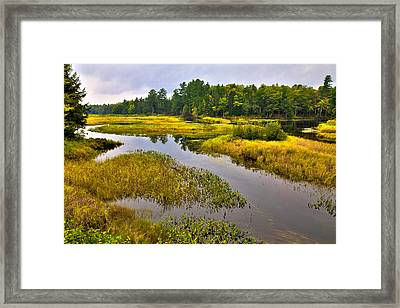 Morning At The Green Bridge - Old Forge New York Framed Print by David Patterson