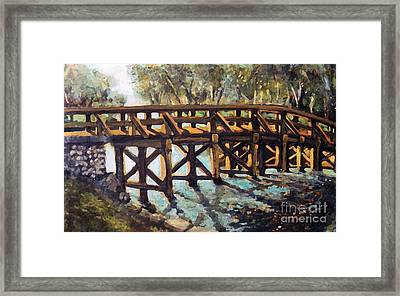Framed Print featuring the painting Morning At The Old North Bridge by Rita Brown