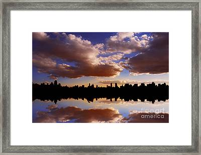Morning At The Reservoir New York City Usa Framed Print