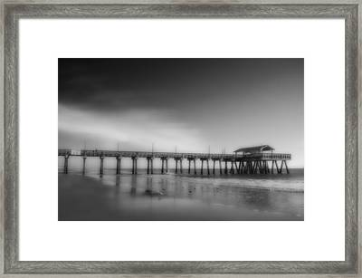 Framed Print featuring the photograph Morning At Tybee Island Pier by Frank Bright