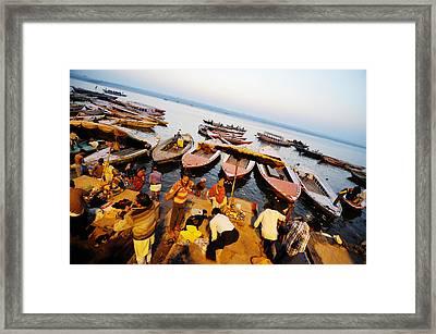 Morning Bath At Ganga Framed Print