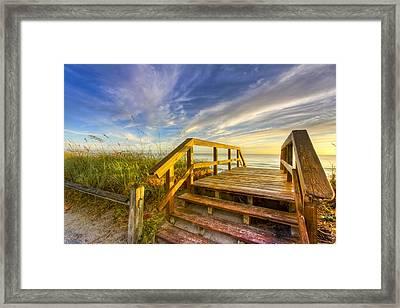 Morning Beach Walk Framed Print by Debra and Dave Vanderlaan
