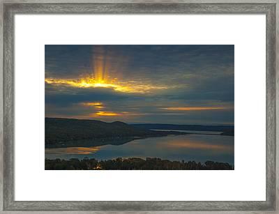 Morning Beams Over Glen Lake Framed Print