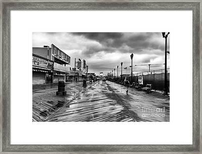 Morning Boardwalk Mono Framed Print
