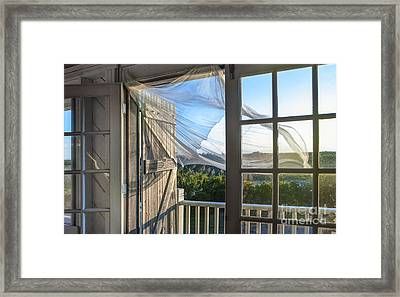 Morning Breeze At The Beach House Framed Print by Diane Diederich