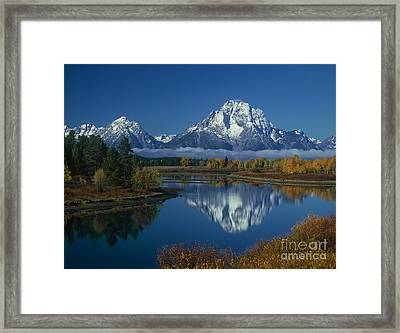 Morning Cloud Layer Oxbow Bend In Fall Grand Tetons National Park Wyoming Framed Print by Dave Welling
