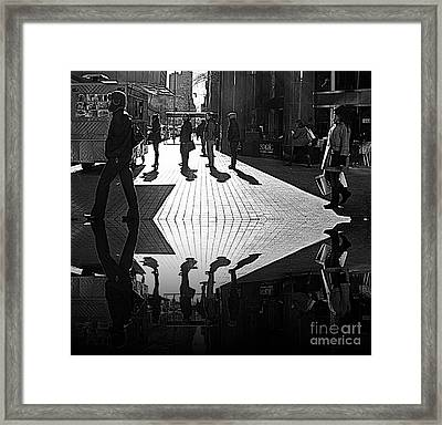 Framed Print featuring the photograph Morning Coffee Line On The Streets Of New York City by Lilliana Mendez