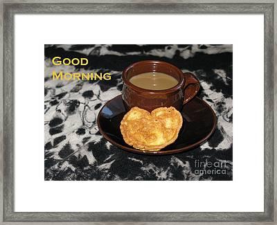 Morning Coffee Served With Love Framed Print by Ausra Huntington nee Paulauskaite