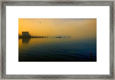 Morning Comes On The Bay Framed Print