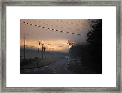 Morning Commute - Foggy Sunrise Framed Print