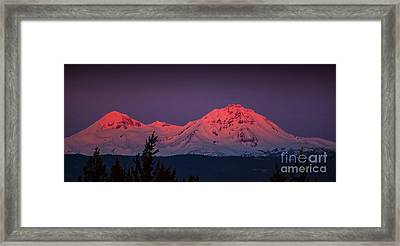 Morning Dawn On Two Of Three Sisters Mountain Tops In Oregon Framed Print