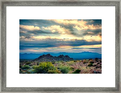 Morning Desert Glow Framed Print by Fred Larson