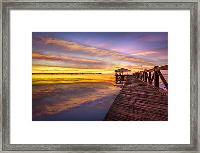 Morning Dock Framed Print by Debra and Dave Vanderlaan