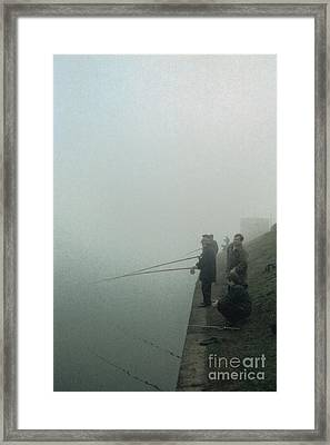 Framed Print featuring the pyrography Morning Fishing by Evgeniy Lankin
