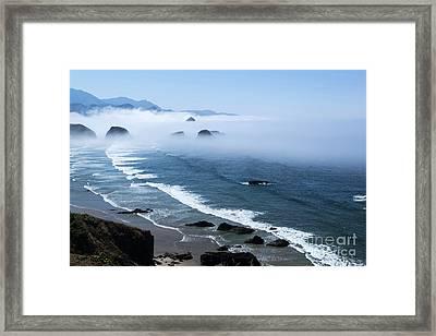 Morning Fog At Ecola Point Framed Print