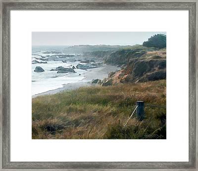 Morning Fog At Ocean Coastline Framed Print by Elaine Plesser