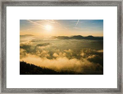Morning Fog In The Saxon Switzerland Framed Print