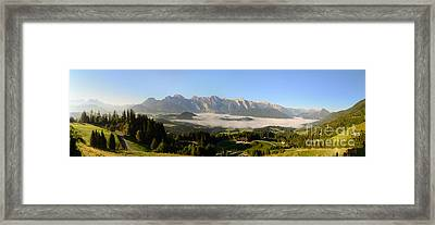 Morning Fog In The Valley Panorama Framed Print by Sabine Jacobs