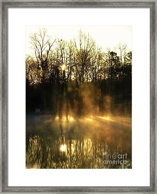 Morning Fog Rising Framed Print