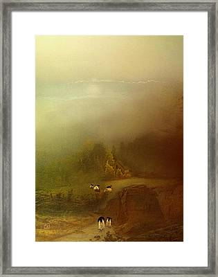 Morning Fog Sheep Framed Print