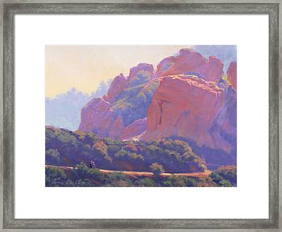 Morning Hike Cathedral Rock Framed Print by Elena Roche