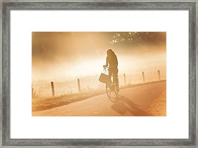 Morning Journey In The Glowing Mist Framed Print by Jenny Rainbow